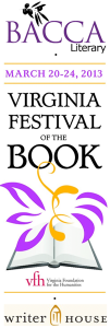 BACCA logo with Virginia Festival of the Book and WriterHouse logos