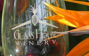 wine glass and bird of paradise
