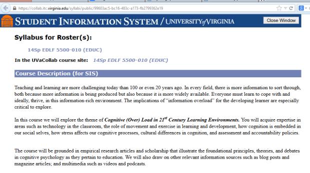 Syllabus description for Claire's class at UVa