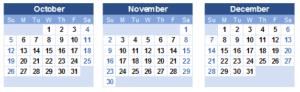 calendar of Oct - Nov - Dec 2014