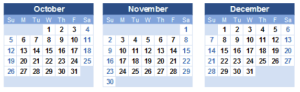 calendar of Oct - Nov - Dec 2014