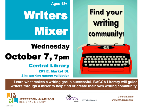 BACCA Literary welcomes area writers to a mixer on Wed 7 Oct 2015 at 7pm in downtown Charlottesville, VA