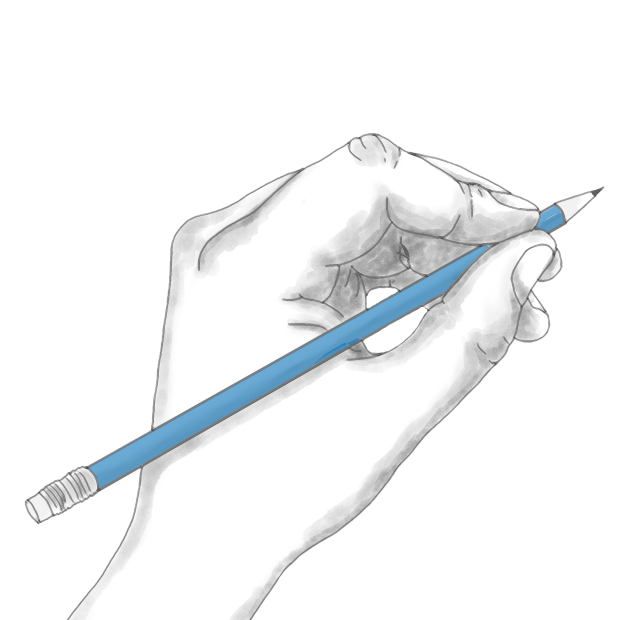 hand holding blue pencil