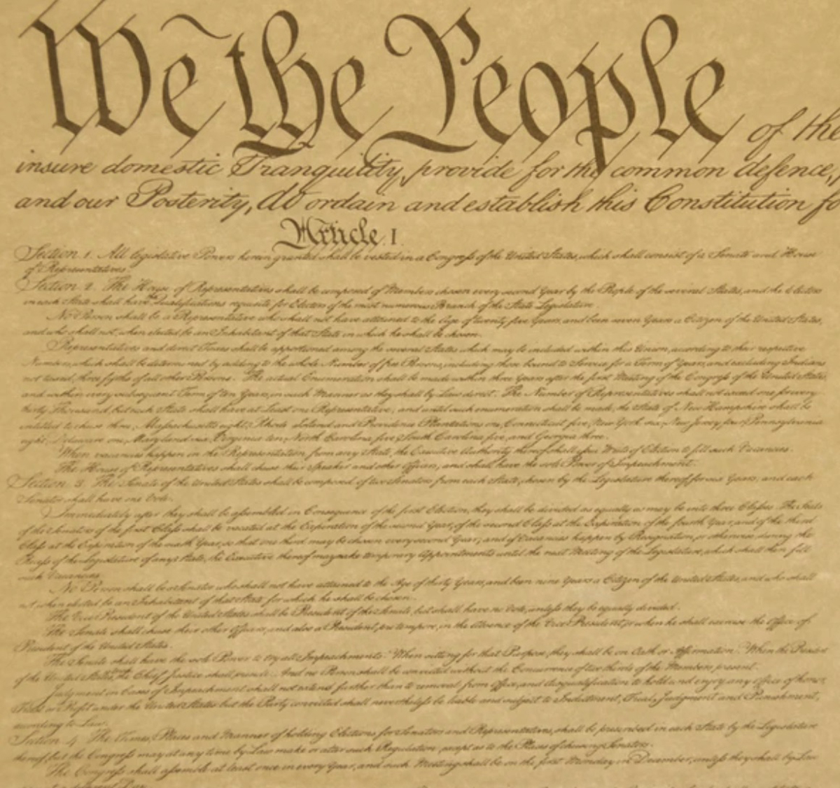 The beginning of the US Constitution