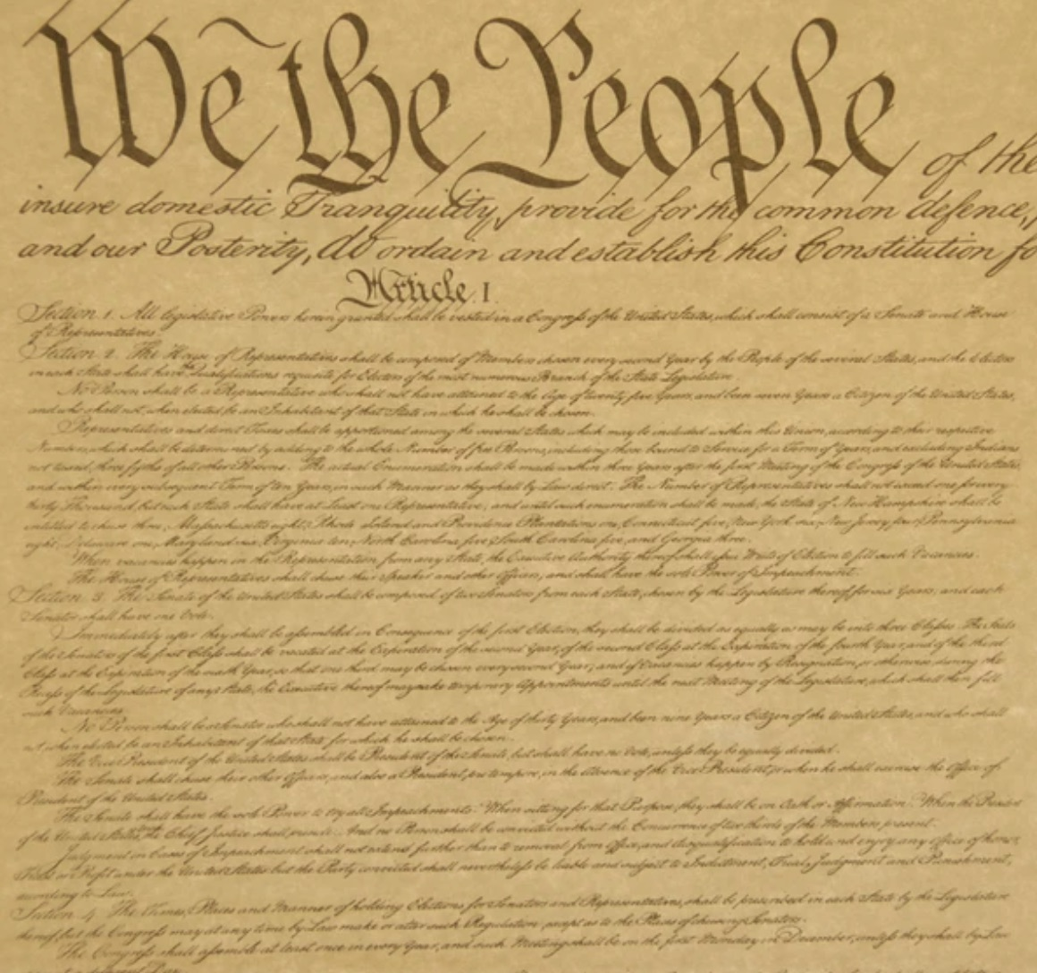 A reproduction of the beginning of the US Constitution